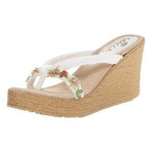 SBICCA White Embellished Vine Wedge Sandals 10 NEW